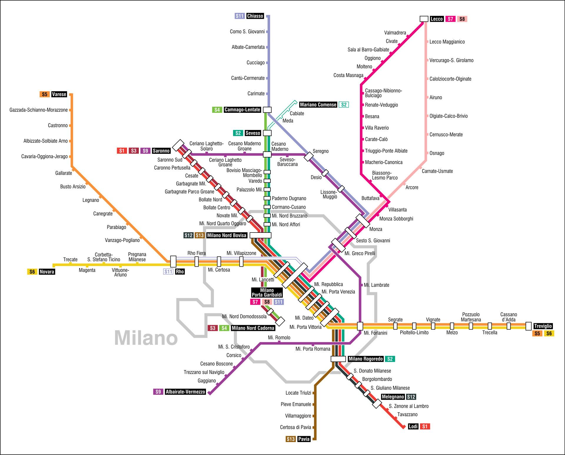 MAP Milan Metro routes and journeys